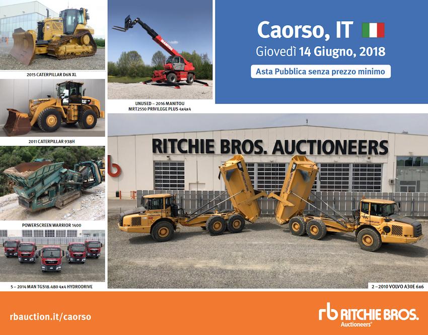 Ritchie Bros.: appuntamento a Caorso il 14 giugno
